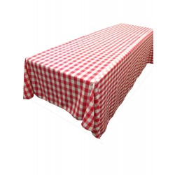 Tablecloth Checkered Rectangular 90x156 Inch Burgundy By Broward Linens