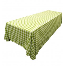 Tablecloth Checkered Rectangular 90x156 Inch Apple Green By Broward Linens