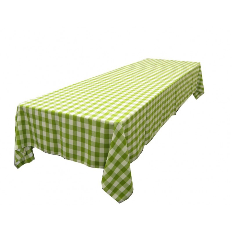 Tablecloth Checkered Rectangular 90x132 Inch Apple Green By Broward Linens