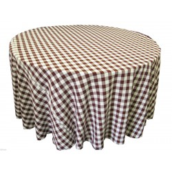 Tablecloth Checkered Round 90 Inch Black By Broward Linens
