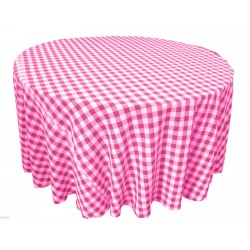 Tablecloth Checkered Round 90 Inch Burgundy By Broward Linens