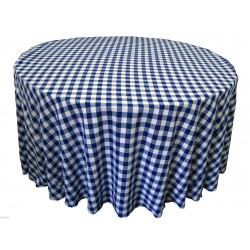 Tablecloth Checkered Round 90 Inch Pink By Broward Linens