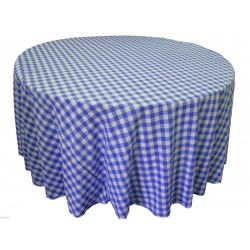 Tablecloth Checkered Round 90 Inch Red By Broward Linens