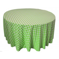 Tablecloth Checkered Round 90 Inch Apple Green By Broward Linens