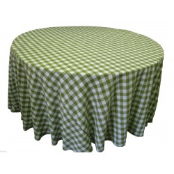 Tablecloth Checkered Round 72 Inch Navy Blue By Broward Linens