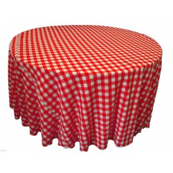 Tablecloth Checkered Round 72 Inch Pink By Broward Linens