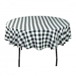 Tablecloth Checkered Round 58 Inch Apple Green By Broward Linens