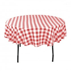 Tablecloth Checkered Round 58 Inch Burgundy By Broward Linens