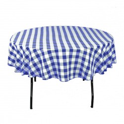 Tablecloth Checkered Round 58 Inch Red By Broward Linens