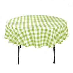 Tablecloth Checkered Round 36 Inch Apple Green By Broward Linens