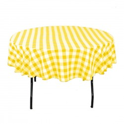 Tablecloth Checkered Round 36 Inch Royal Blue By Broward Linens