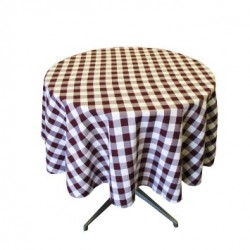 Tablecloth Checkered Round 54 Inch Black By Broward Linens