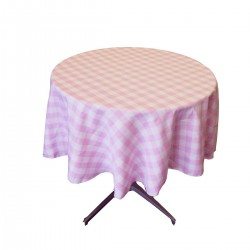 Tablecloth Checkered Round 30 Inch Hunter Green By Broward Linens