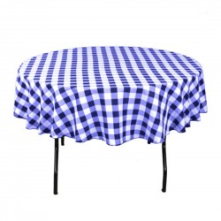 Tablecloth Checkered Round 30 Inch Pink By Broward Linens