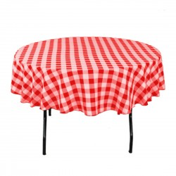 Tablecloth Checkered Round 30 Inch Navy Blue By Broward Linens