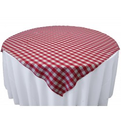 Tablecloth Checkered Overlay Square 90 Inch Burgundy By Broward Linens