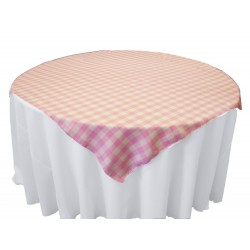 Tablecloth Checkered Overlay Square 90 Inch Orange By Broward Linens