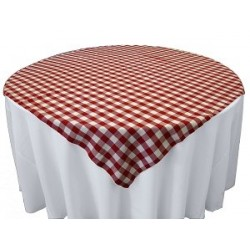 Tablecloth Checkered Overlay Square 58 Inch Purple By Broward Linens