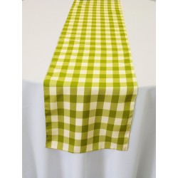 """Tablecloth Runner Checkered 12""""x108"""" Apple Green By Broward Linens"""