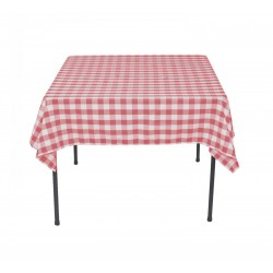 Tablecloth Square Checkered 42 Inch Burgundy By Broward Linens
