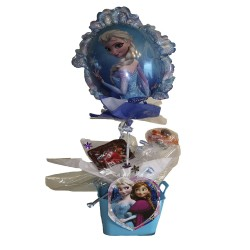By Broward Balloons Disney Frozen Elsa and Anna Balloon and Candy in Container Blue
