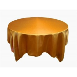 Tablecloth Satin Round 45 Inch Champagne By Broward Linens