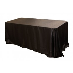 Tablecloth Satin Rectangular 90x132 Inch Black By Broward Linens