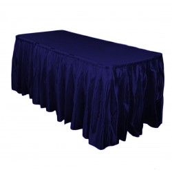 Table Skirt 21' Satin Navy Blue By Broward Linens