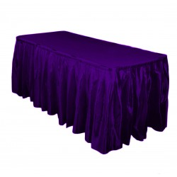 Table Skirt 17' Satin Plum By Broward Linens