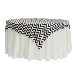 Tablecloth Checkered Overlay Square 58 Inch Black By Broward Linens