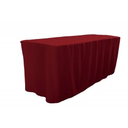 Tablecloth Polyester Poplin Fitted Burgundy, for 4-foot Table By Broward Linens
