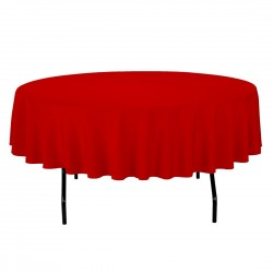 Tablecloth Polyester Round Seamless (One Piece) 64 Inch Red By Broward Linens