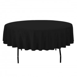 Tablecloth Polyester Round Seamless (One Piece) 64 Inch Black By Broward Linens