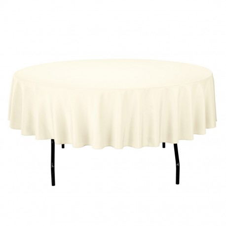 Tablecloth Polyester Round Seamless (One Piece) 64 Inch Ivory By Broward Linens