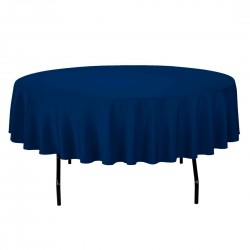 Tablecloth Polyester Round Seamless (One Piece) 64 Inch Navy Blue By Broward Linens