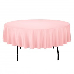 Tablecloth Polyester Round Seamless (One Piece) 90 Inch Pink By Broward Linens