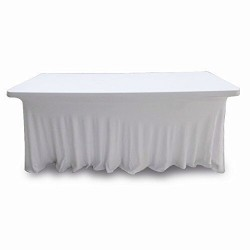 Stretch Tablecloth SRectangular Fitted Spandex & Polyester 90 x 132 White By Broward Linens
