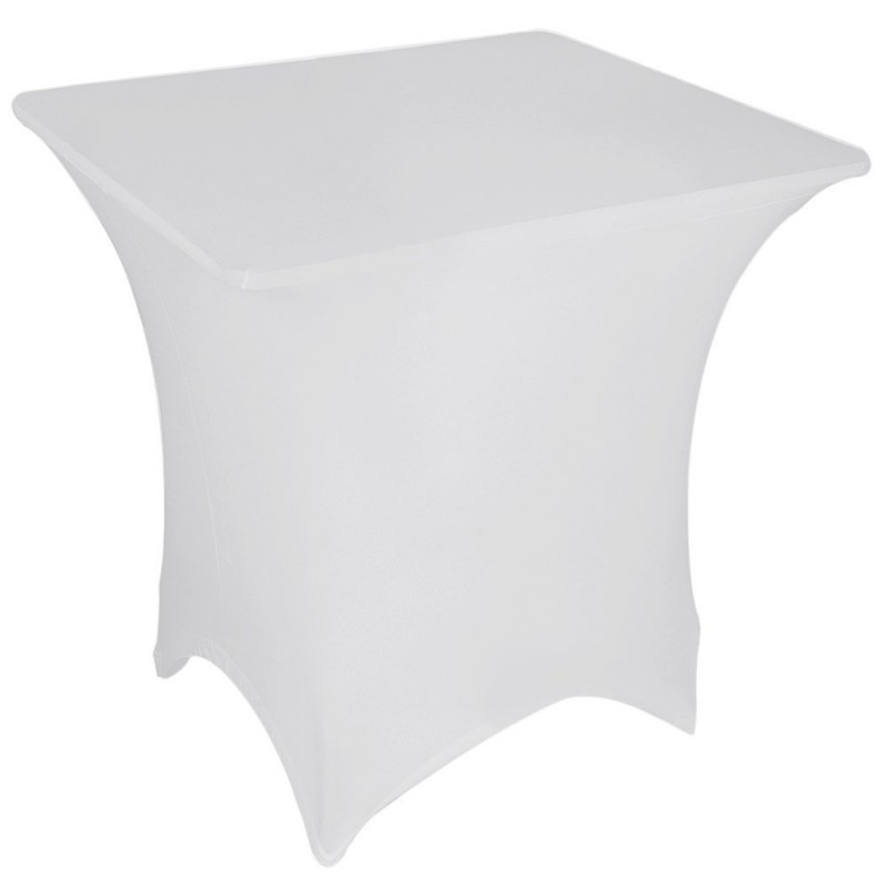Stretch Tablecloth Square Fitted Spandex 5 Foot White By