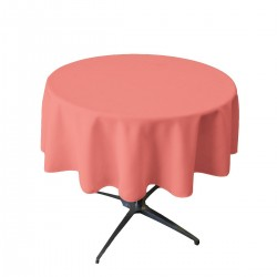 Tablecloth Polyester Round Seamless (One Piece) 90 Inch Coral By Broward Linens