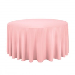 Tablecloth Polyester Round Seamless (One Piece) 108 Inch Light Pink By Broward Linens