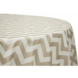Tablecloth Chevron Round 58 Inch Gold By Broward Linens