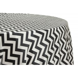 Tablecloth Chevron Round 72 Inch Black By Broward Linens